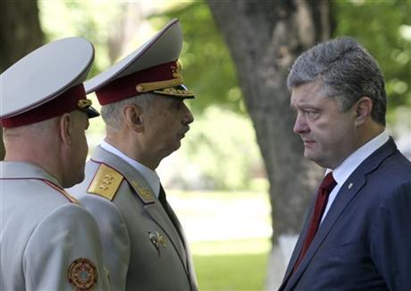 Mikhailo Koval Center speaking to Ukraine's  NWO Puppet Fascist Poroshenko.