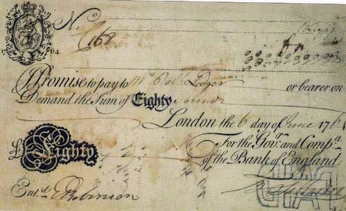 Interest Bearing bank note from the Bank of England, 1764