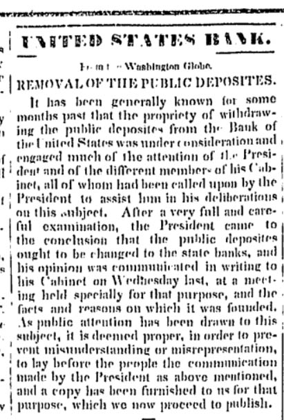News report of Jackson shutting down the Second Bank of the United States, Geneva Gazette, October 2, 1833