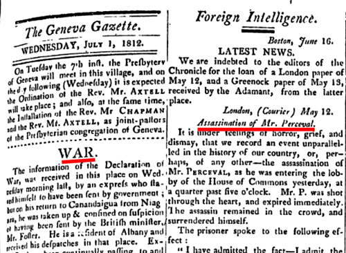 Click for larger image of the Geneva Gazette for July 1, 1812,