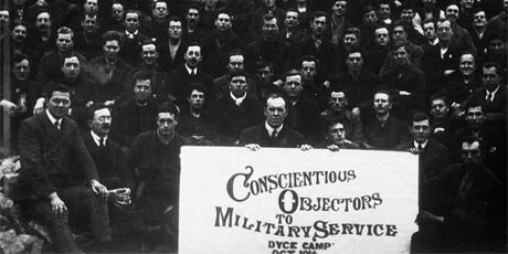 There were over 16,000 conscientious objectors in the First World War, many of whom, like these, were imprisoned.