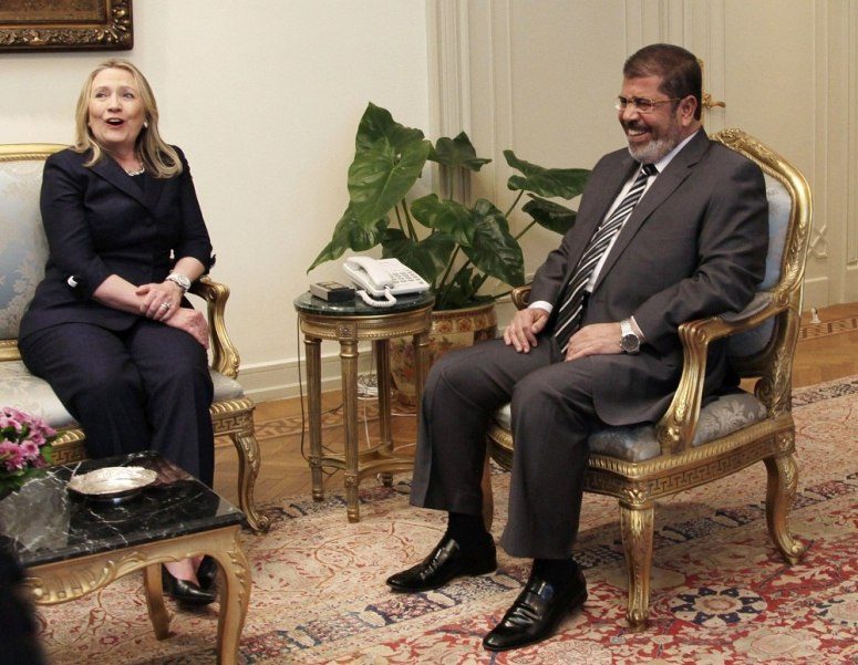 Hillary Clinton seated With Egypt's Ex- NWO Puppet President Mohammed Morsi