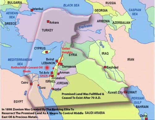 THIS IS ROTHSCHILDS'S PRESENT DAY PLAN OF USURPING THE BIBLE TO DIVIDE THE MIDDLE EAST. THE RESURRECTION AND VAST MEDIA BLITZ KRIEG OF A STILL EXISTING PROMISED LAND FOR A PAST ISRAEL PEOPLE IS -- USED TO DISARM THE CONCERNS OF THOSE LESS KNOWLEDGEABLE OF HISTORY. The Promised Land Was Fulfilled And Ceased To Be After 70 A.D.
