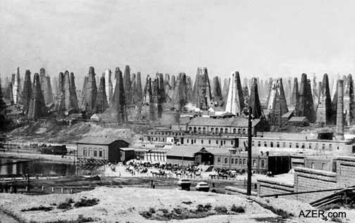 Oil derricks sprouted up everywhere in Baku, Azerbaijan. The fields were the largest in the world at the time.