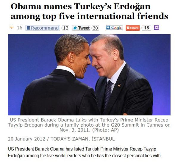 Obama & Erdogan both of The Muslim Brotherhood. Erdogan is scared out of his mind watching the NWO Muslim Brotherhood fail on Egypt With Muslim Brotherhood Ex-President Morsi going to the gallows.