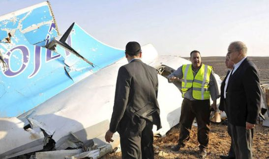 Wreckage of the doomed airliner is strewn across the desert floor