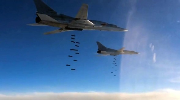 A Tupolev Tu-22M3 long-range strategic and maritime strike bomber of the Russian Aerospace Forces during a combat flight to strike the Islamic State infrastructure facilities in Syria by OFAB-25-270 fragmentation high explosive bombs. © Ministry of defence of the Russian Federation / RIA Novosti