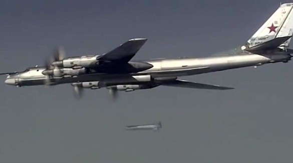 A Russian Tupolev 95 long-range bomber launches a massive air strike on the Islamic State infrastructure in Syria. © Ministry of defence of the Russian Federation