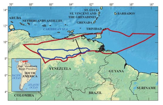 Venezuela Orinoco Oil Belt In Blue.