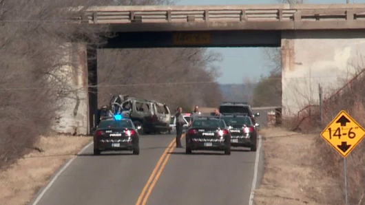 The car crash site of Aubrey McClendon, former CEO of Chesapeake Energy, in Oklahoma City on March 2, 2016.