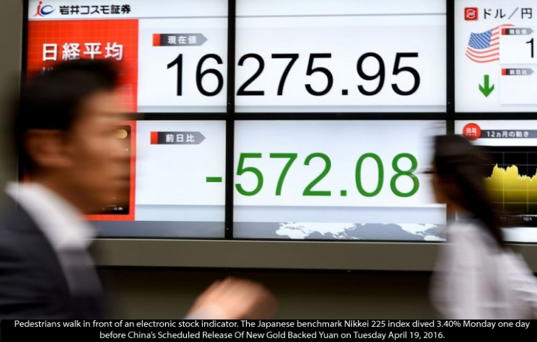 Japan Shares Plunge Day Before China Releases New Gold Backed Yuan Scheduled For Tuesday April 19, 2016. Japanese-stock-plunge-4182016