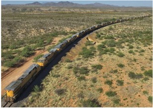 300 idled Union Pacific locomotives in the Arizona desert