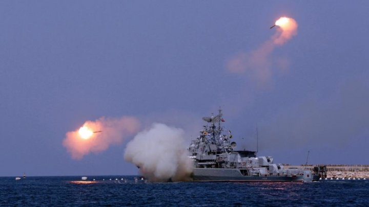 Russian Warships Fires Caliber Missiles