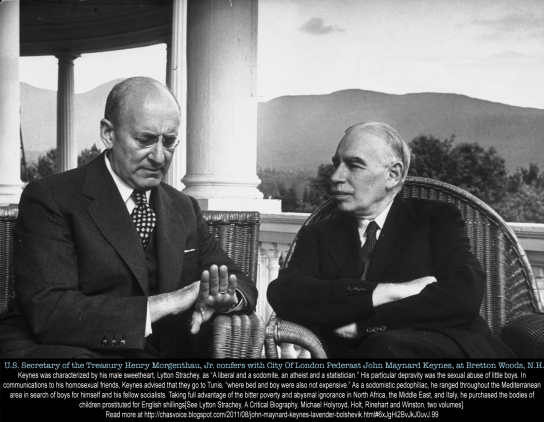 US Treasury Secretary Henry Morgenthau Jr. and British pederast John Maynard Keynes conferring during international monetary conference to plan for postwar reconstruction.