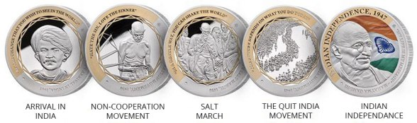 GANDHI Coin Collection of 5 Limited Edition Silver 1oz Coins
