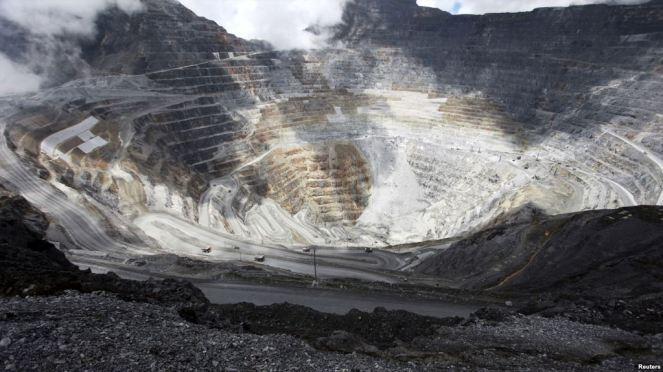 Freeport's Grasberg copper and gold mine complex near Timika Indonesia