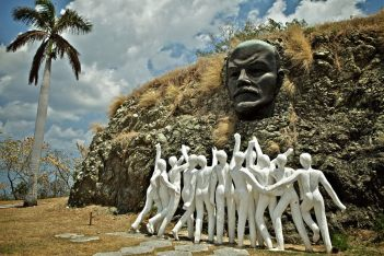 Cult Of Lenin ~ A bronze sculpture of Lenin outside Havana, Cuba surrounded by 12 zionist figures in solidarity with the zionist Bolshevik Revolution
